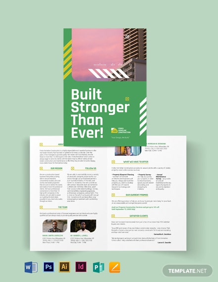 construction company investor bi fold brochure