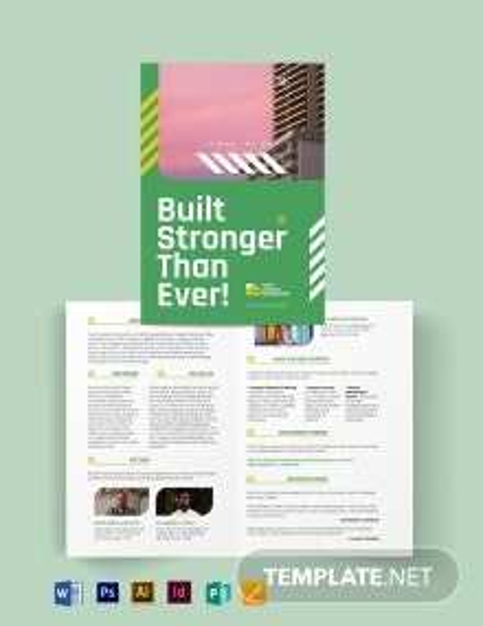 Construction Company Investor Bi-fold Brochure Template