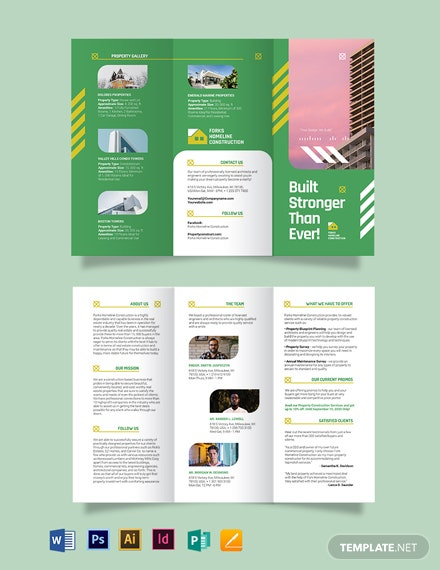 construction company investor tri fold brochure