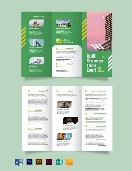 Construction Company Investor Tri-fold Brochure Template