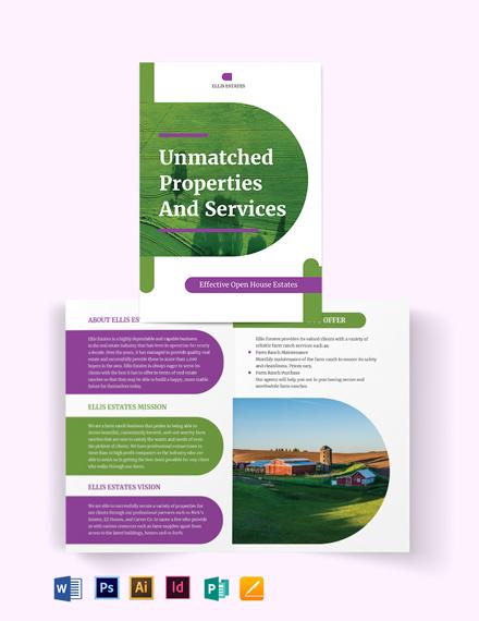 Farm Ranch Bi-Fold Brochure Template