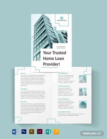 Home/House Loan Bi-fold Brochure Template