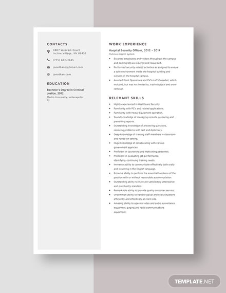 Hospital Security Officer Resume Template