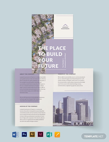 Land Real Estate Investor Bi-fold Brochure Template
