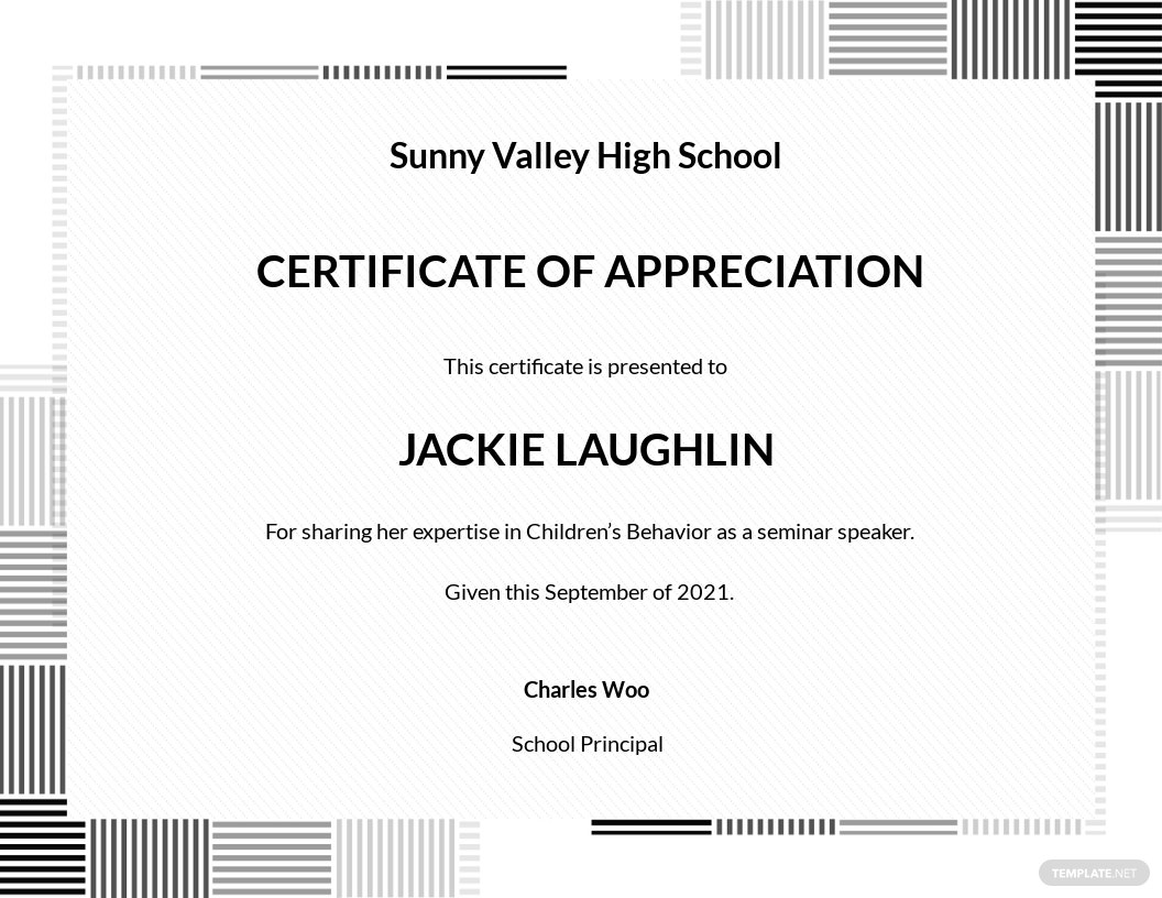 Formal Certificate of Appreciation Template
