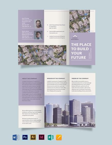 Land Realestate Investor Tri-fold Brochure Template