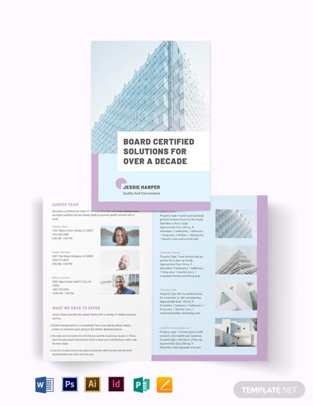 Personal Real Estate Broker Bi-Fold Brochure Template
