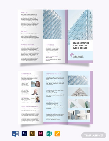 Personal Real Estate Broker Tri-Fold Brochure Template