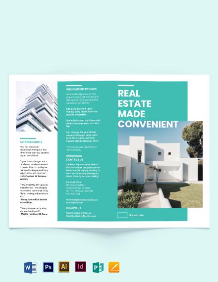Property Broker Bi-Fold Brochure Template