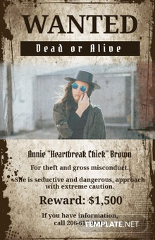 Cowgirl Wanted Poster Template