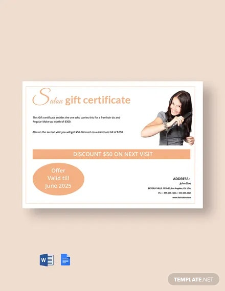 Free Hair Salon Gift Certificate Template
