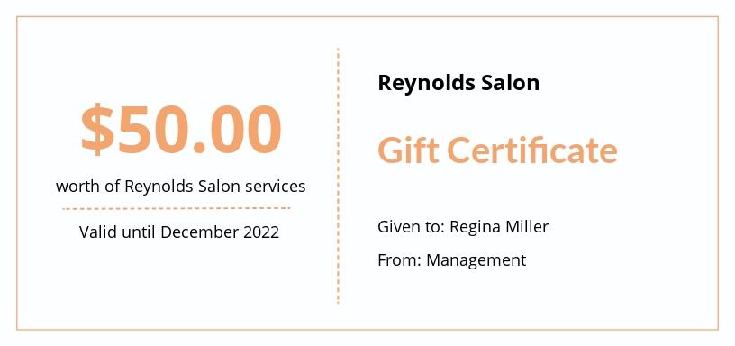 Free Hair Salon Gift Certificate Template