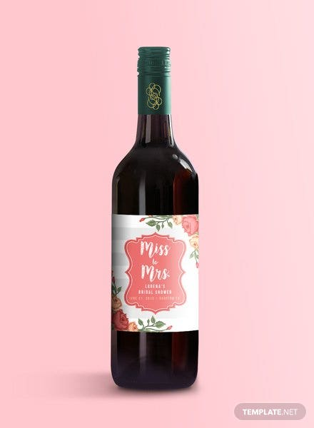 Bridal Shower Wine Label Template