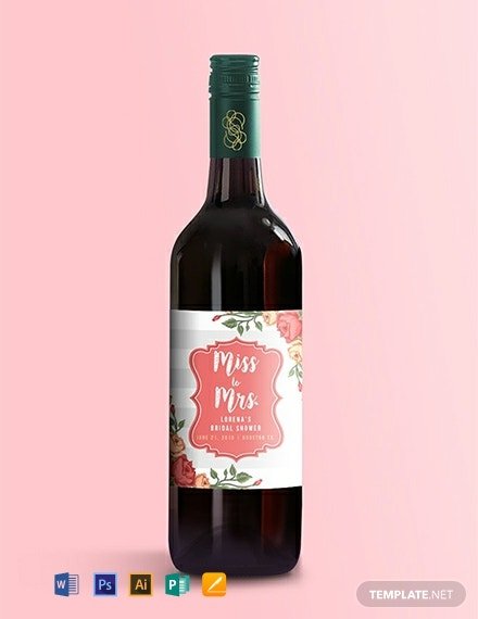 Free Bridal Shower Wine Label Template