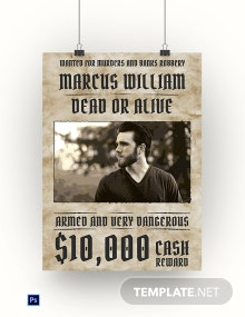 Editable Wanted Poster Template
