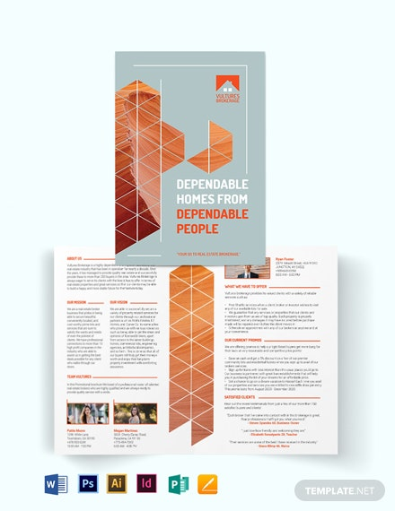 Real Estate Broker Promotional Bi-Fold Brochure Template