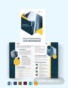 Real Estate Company Investor Bi-Fold Brochure Template