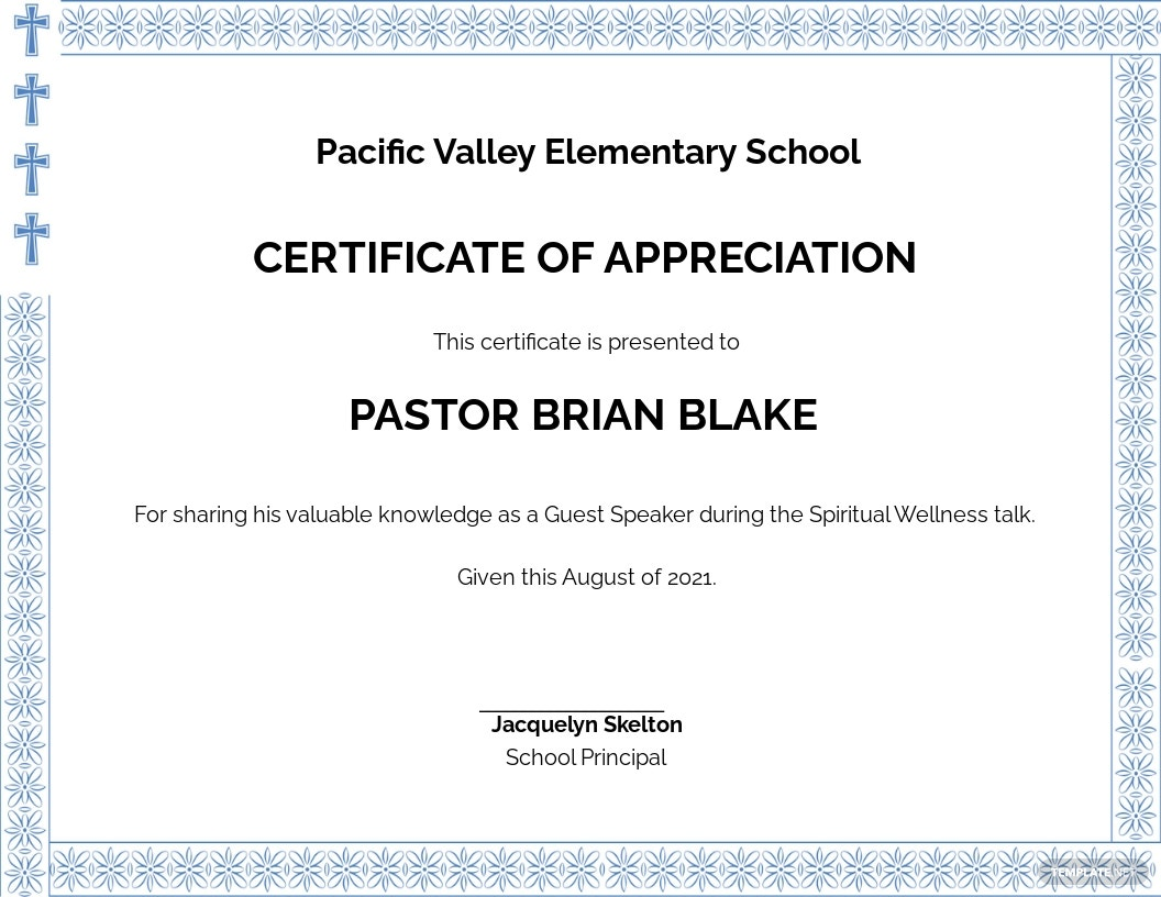 Free Pastor Appreciation Certificate Template