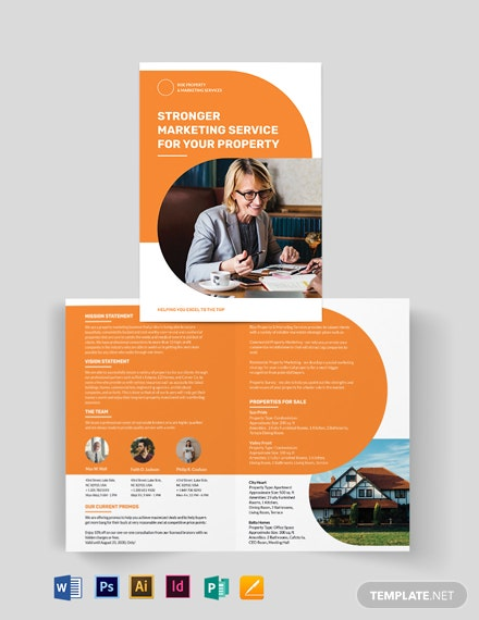 Real Estate Company Marketing Bi-fold Brochure Template