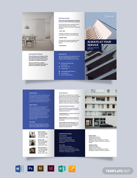 RealEstate Company Promotional Tri-fold Brochure Template