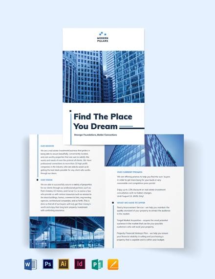 Real Estate Investment Company Bi-Fold Brochure Template