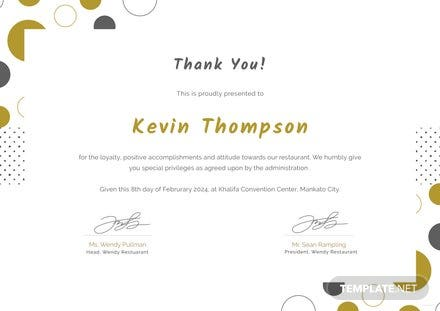 Free Customer Appreciation Certificate Template