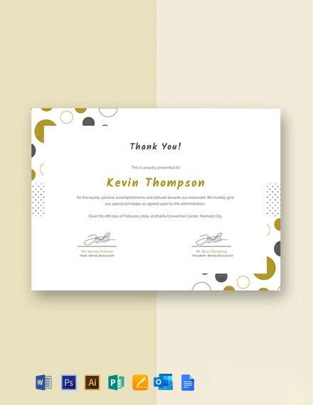 Customer Appreciation Certificate Template