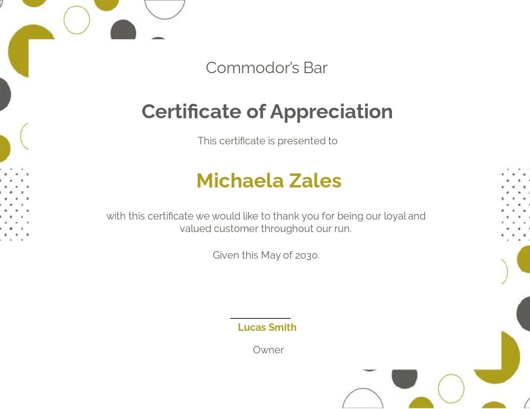 Free Customer Appreciation Certificate Template.jpe