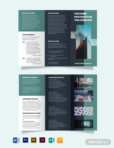 realestate investment group tri fold brochure