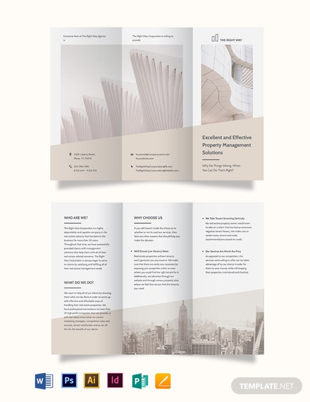 Real Estate Management Tri-Fold Brochure Template