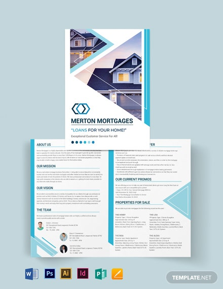 Real Estate Mortgage Broker Bi-fold Brochure Template