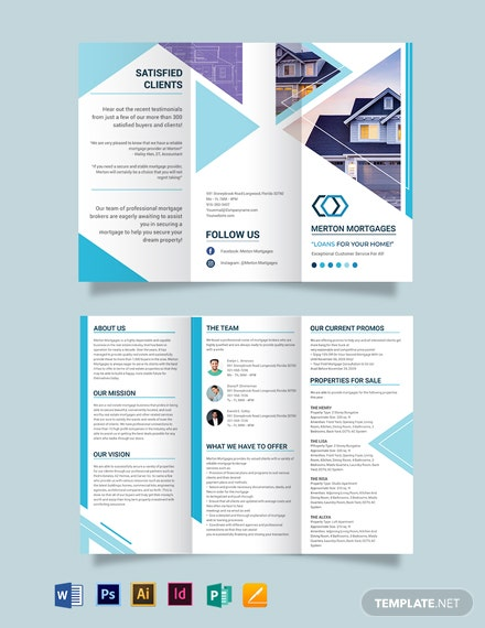 Real Estate Mortgage Broker Tri-fold Brochure Template