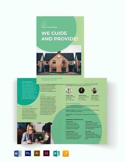 Rental Agent/Agency Bi-Fold Brochure Template