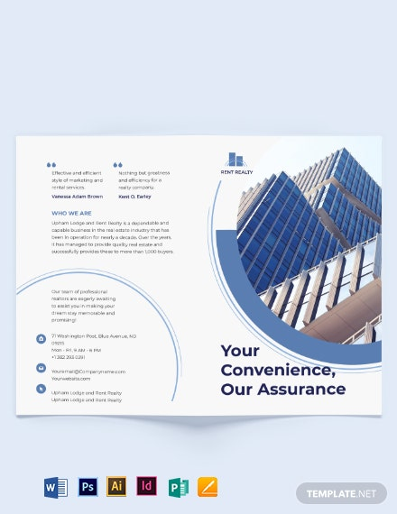 Rental Property Realtor Bi-Fold Brochure Template