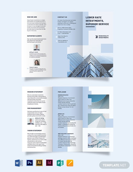 wholesales realestate investment tri fold brochure