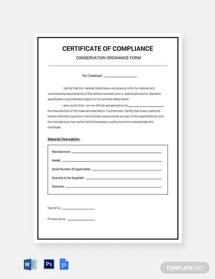 Conservation Compliance Certificate Template