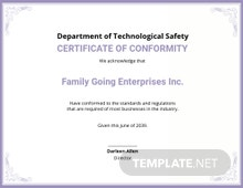 Printable Conformance Certificate Template