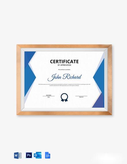 Coaching Appreciation Certificate Template