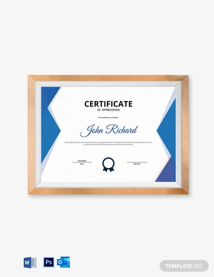 Coaching Appreciation Certificate Template