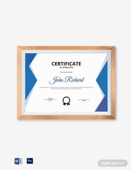 coaching appreciation certificate