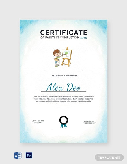 Painting Completion Certificate Template