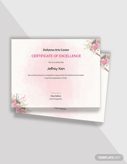 Editable Painting Competition Excellence Certificate