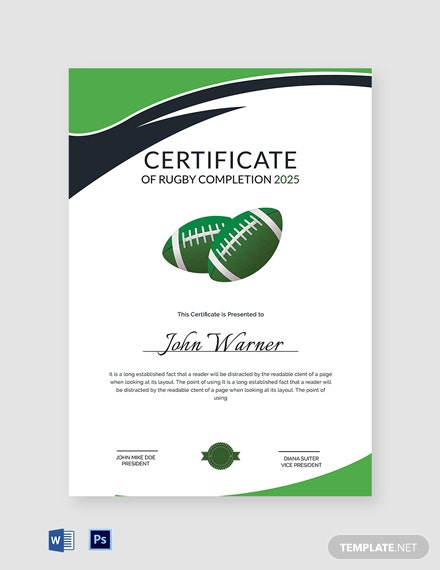 Certificate of Rugby Completion Template
