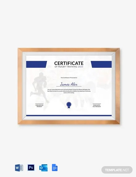 Rugby Training Certificate Template