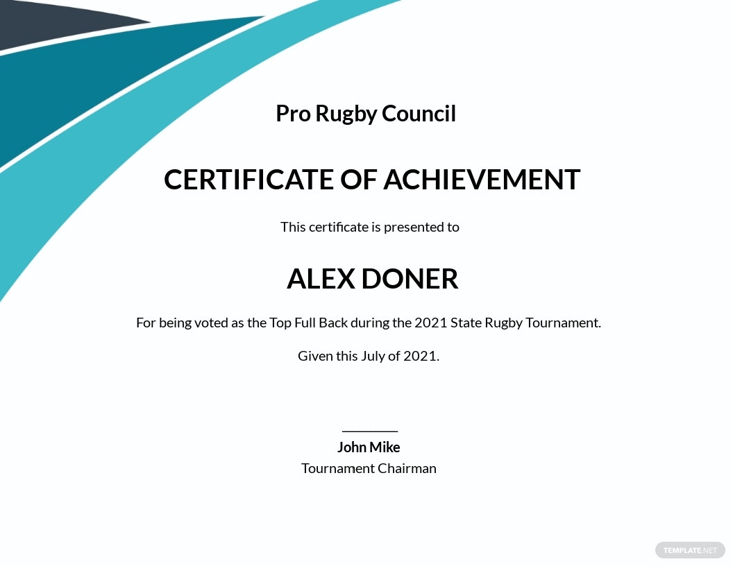 Achievement Certificate for Rugby Template.jpe