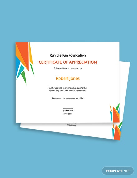 Sports Day Appreciation Certificate Template