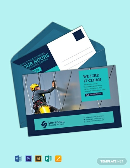 Free Cleaning Postcard Template
