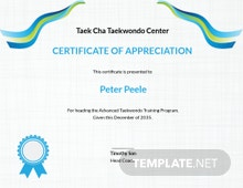 Taekwondo Appreciation Certificate Template