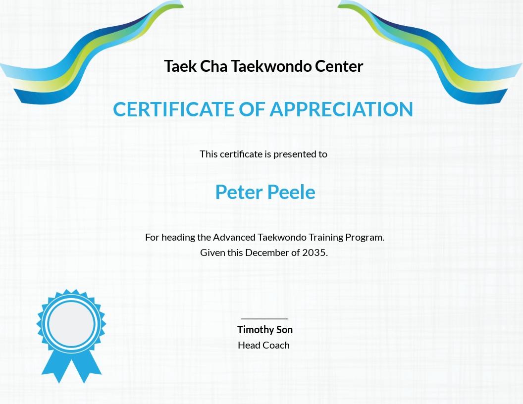 Taekwondo Appreciation Certificate Template