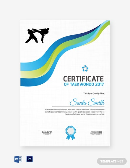 taekwondo appreciation certificate